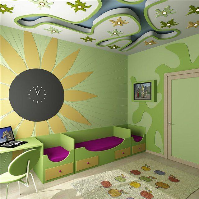 Безупречный дизайн потолков из гипсокартона в детской комнате