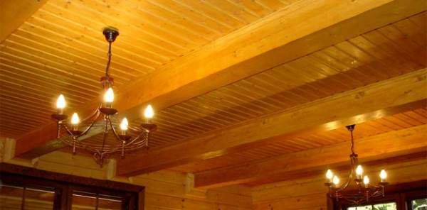 Так выглядит то, чему подражает имитация бруса - потолок в настоящем деревянном доме.