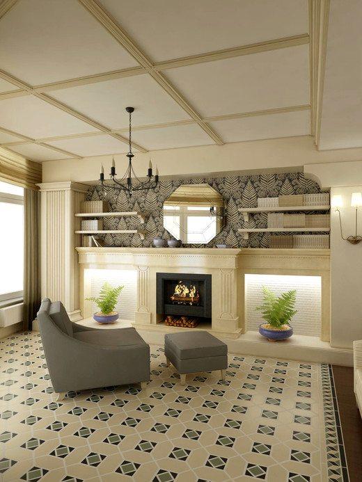Красивый дизайн плиточного потолка в гостиной