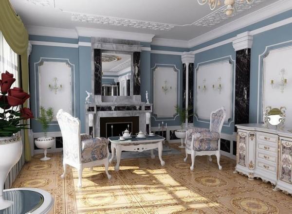 Интерьер, выполненный в классическом стиле, выглядит торжественно и элегантно.