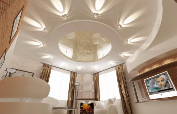 Создание современного интерьера в зале требует использования современных решений и при оформлении потолка