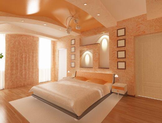 Пример натяжного потолка в спальне