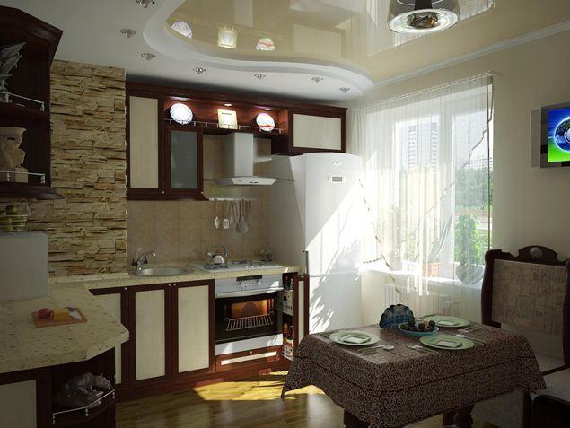 Пример современной отделки потолка на кухне