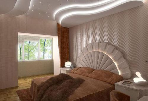 Привлекательный дизайн потолка из гипсокартона в спальне