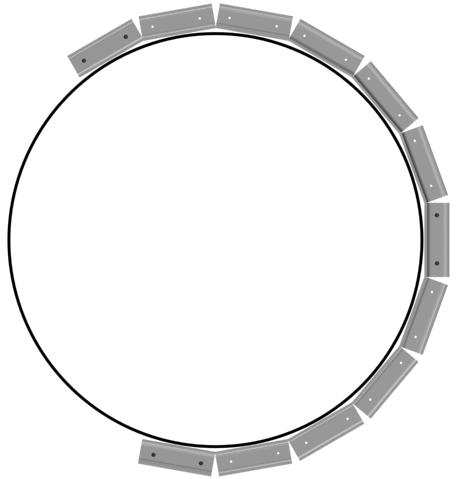 Профиль надрезается и прикручивается по окружности