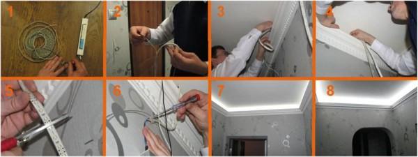 Процесс монтажа светодиодной подсветки в подпотолочный плинтус