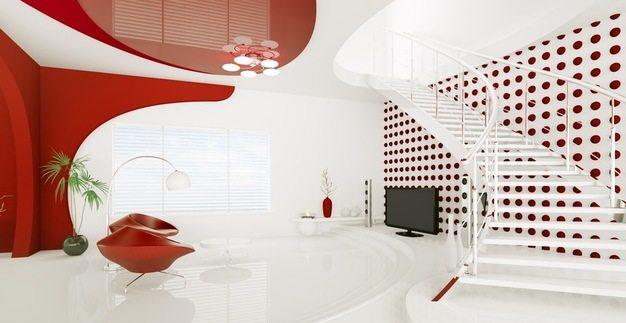 Огромный выбор цветов позволяет использовать очень неожиданные цветовые решения. Вам нравится красный потолок?