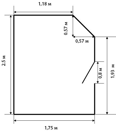 Такая конфигурация помещения прекрасно делится на три прямоугольника и прямоугольный треугольник.