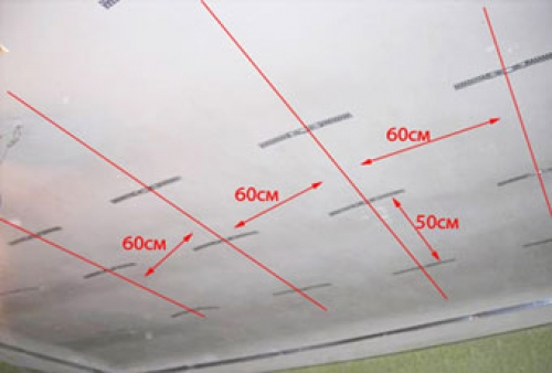 Разметка положения потолочных профилей под потолком