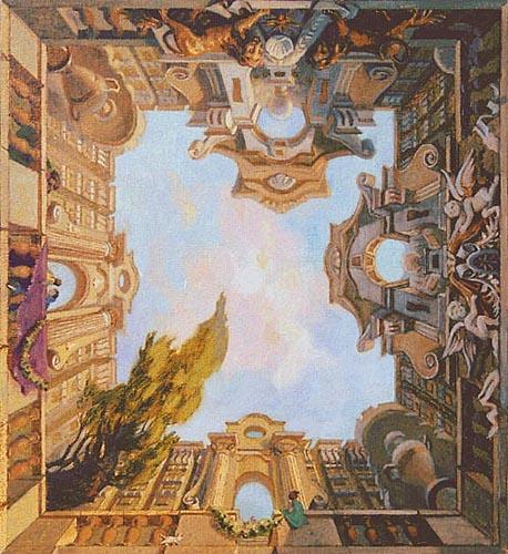 Великолепная объемная роспись потолка визуально значительно поднимет потолок, наполнив помещение светом.