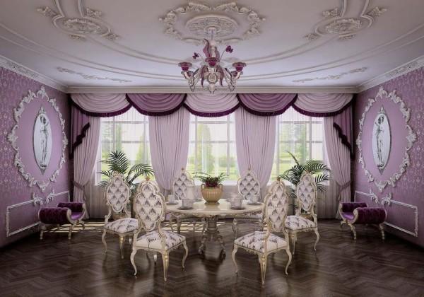 Сиреневая гостиная, выполненная в стиле классического рококо. Шикарный дизайн!