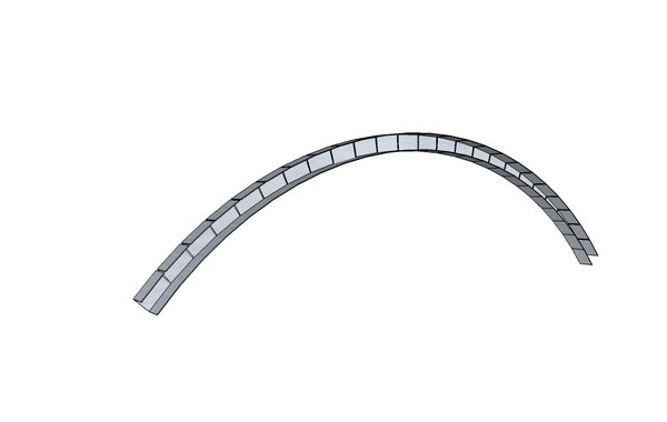 Металлический профиль подрезается так, чтобы его можно было выгнуть в нужную сторону