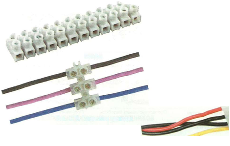 Соединение проводов при помощи клеммной колодки.