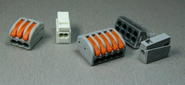 Соединители могут иметь разную конфигурацию в зависимости от количества скрепляемых проводов