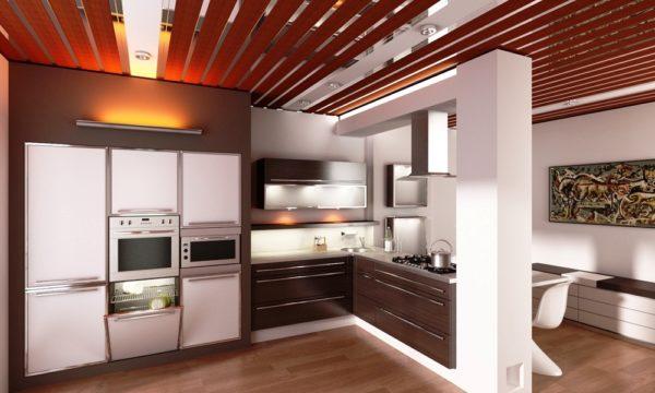 Современный дизайн кухни с реечным потолком