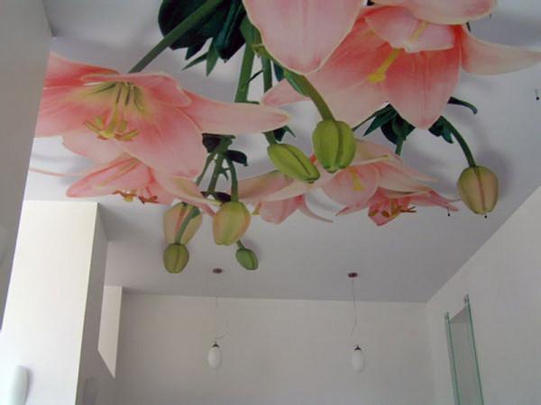 Потолочные фотообои зрительно придадут помещению с низкими потолками большего объема