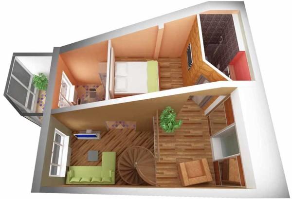 Пример проекта квартиры, расположенной на мансардном этаже: высота потолков остается комфортной даже в наиболее низкой части