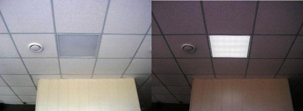 Работа светильника