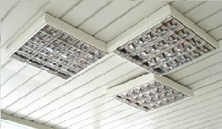 Накладные светильники на реечном потолке