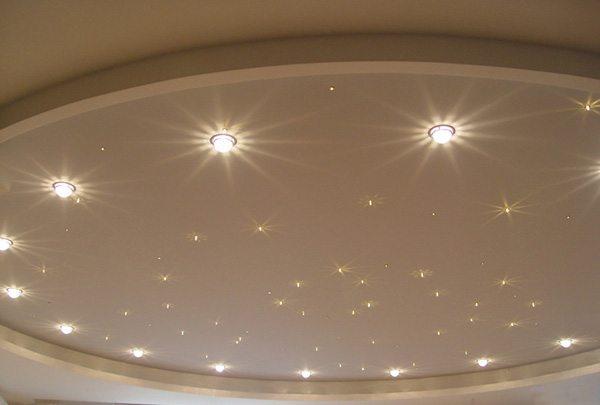 Точечные светильники на подвесном гипсокартонном потолке
