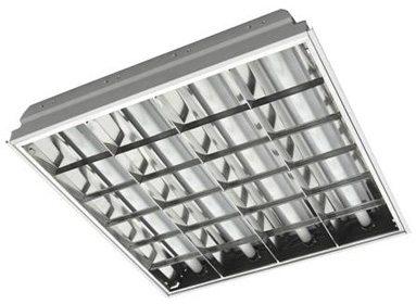 Люминесцентный растровый врезной светильник с V-образной решёткой