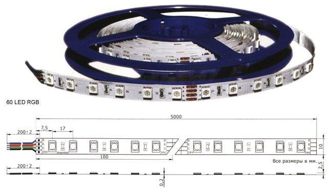 На метр ленты приходится от 30 до 240 светодиодов. Ее можно отрезать по размеру, но только по специальным меткам.