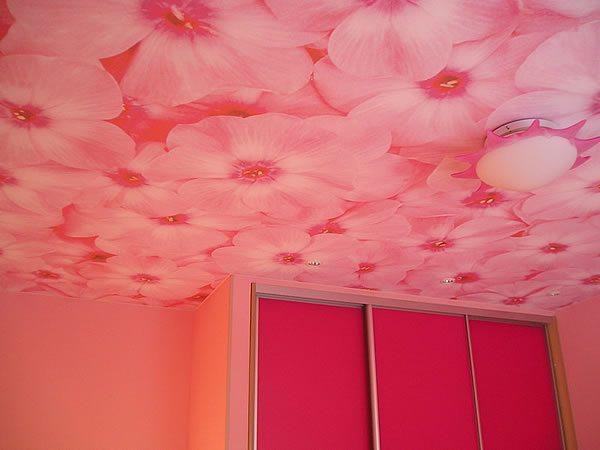 Тканные натяжные потолки с ярким рисунком