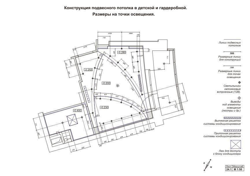 Пример плановой схемы освещения комнаты
