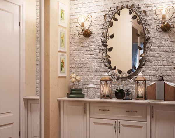 Традиционное расположение настенных светильников у зеркала.