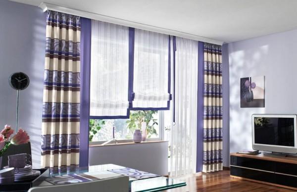 Трехрядный настенный карниз – это отличная возможность воплотить в реальность многослойный декор окна