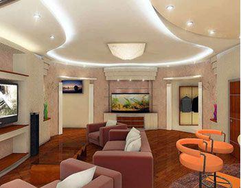 Трехъярусный потолок из гипсокартона в большой гостиной