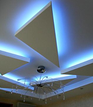 Украшение потолка скрытой подсветкой