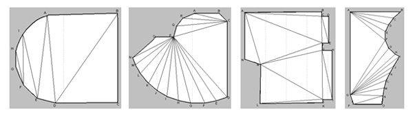Потолок любой формы можно разделить на треугольники, стороны которых легко замерить.