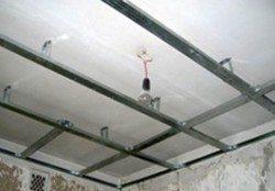 Устройство обрешетки простого подвесного потолка из гипсокартона
