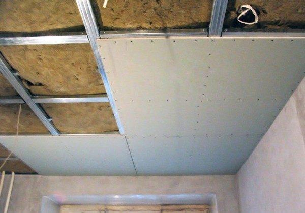 Утепление потолочной конструкции из ГКЛ