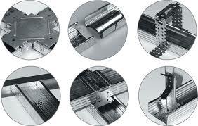 Узлы соединения для крепления профиля к потолку