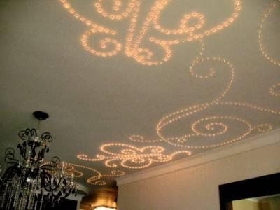 Узоры, сделанные точечными светильниками