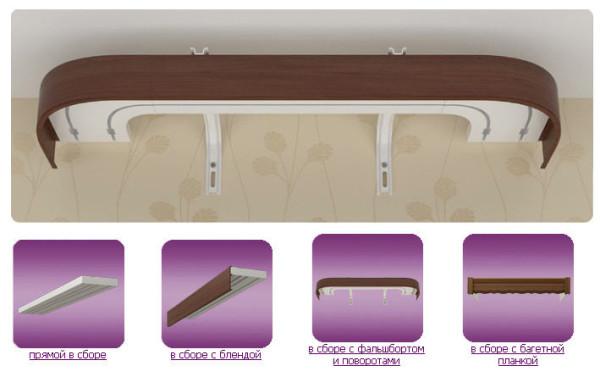 Настенные карнизы: потолочные пластиковые, кованые металлические изделия для тяжелых штор, балдахина, фото, видео