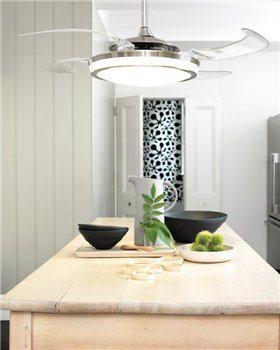 Разместить светильник потолочный с вентилятором лучше всего над столом