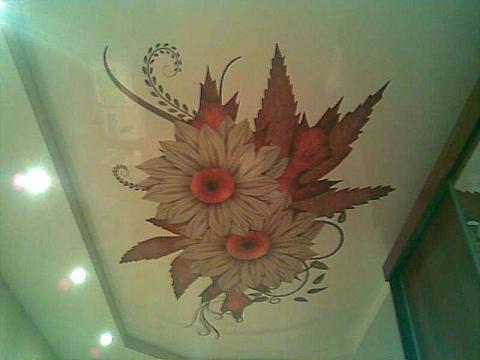 Наклейка из винила на потолке