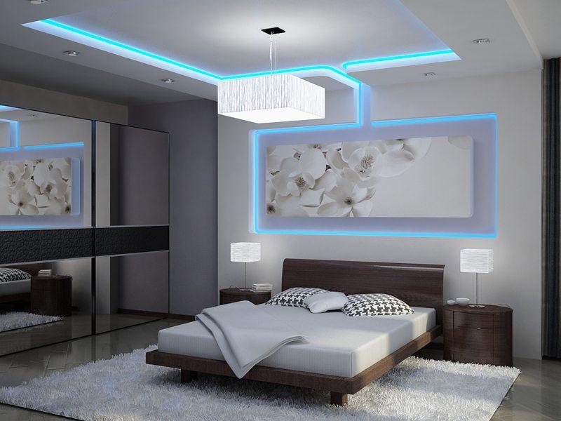 Восхитительный дизайн спальни с использованием светодиодной ленты. Не так ли?