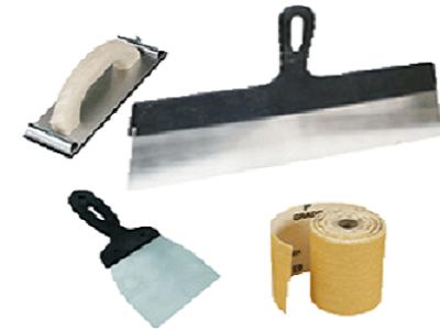 Шпателя, тёрка с зажимами и наждачная бумага