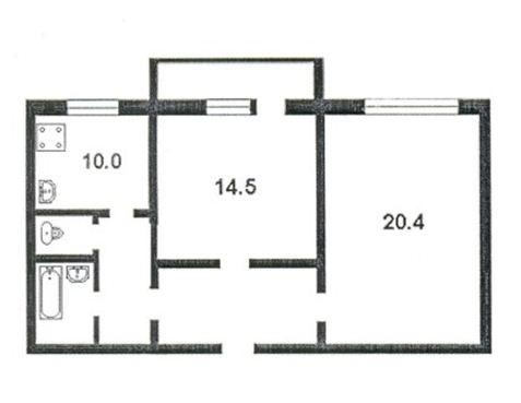 Одна из многочисленных планировок сталинок. Как можно видеть, здесь площадь комнат вполне умеренная