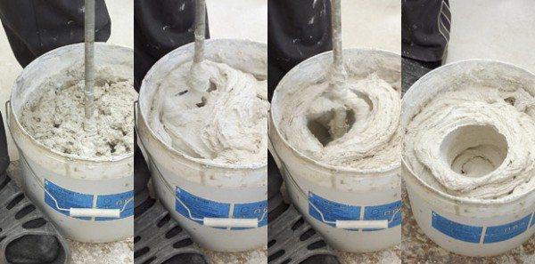 Замешивание штукатурного раствора миксером