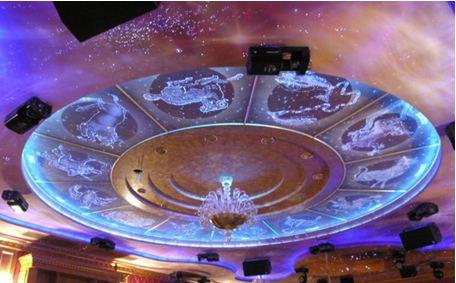 Звездное небо с зодиакальным кругом и все это на многоуровневом потолке